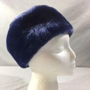 Vintage faux blue fur Russian box hat